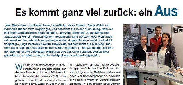 """Artikel in der Verbandszeitschrift """"GesteinsPerspektiven"""""""